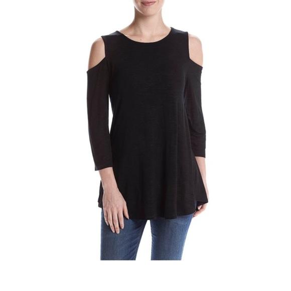 Black Cupio cold shoulder long sweater